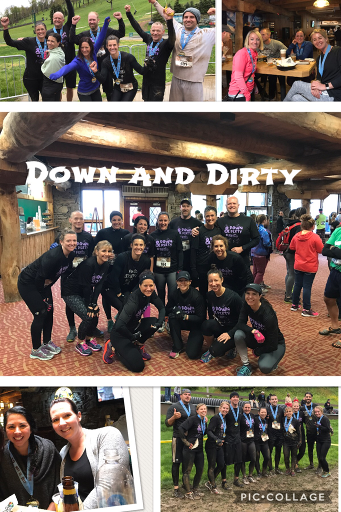 """collage of pictures of Fithouse members at the """"Mud on the Mountain"""" event"""